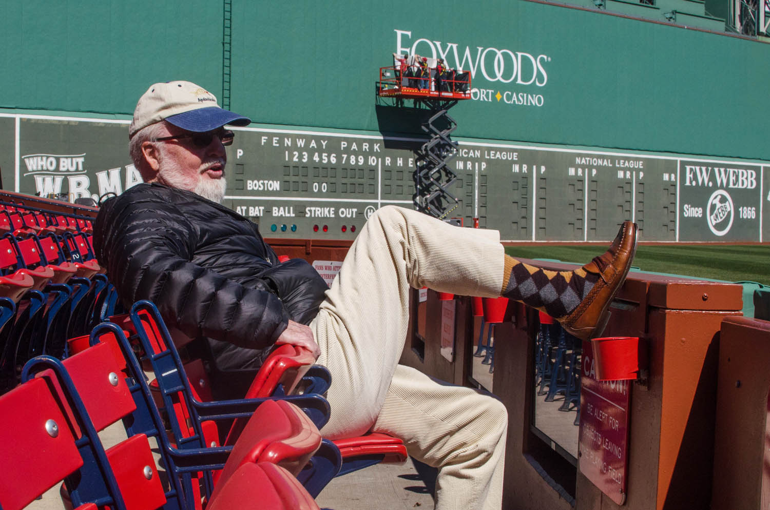 Longtime season ticket holder and life-long Boston Red Sox fan Ed Jesser at Fenway Park, before Opening Day 2017. (Sharon Brody/WBUR)
