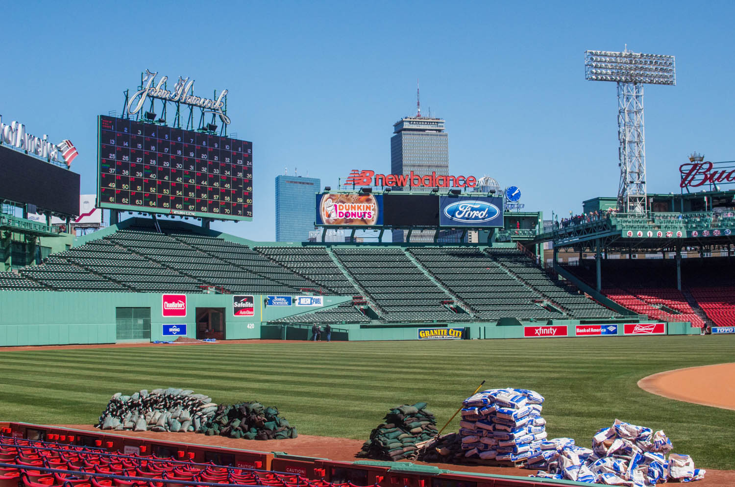 Preparations were underway last week at Fenway Park for Monday's season opener, when the Red Sox host the Pittsburgh Pirates. (Sharon Brody/WBUR)