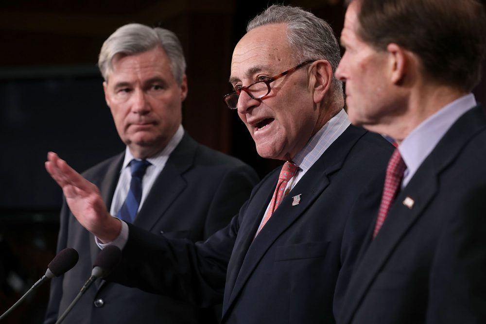 """From left to right, Sen. Sheldon Whitehouse (D-R.I.), Senate Minority Leader Charles Schumer (D-N.Y.) and Sen. Richard Blumenthal (D-Conn.) hold a news conference to call on Republicans to reveal the """"dark money"""" donars supporting the confirmation of Judge Neil Gorsuch to the Supreme Court at the U.S. Capitol March 29, 2017 in Washington. The Democratic senators said that Gorsuch was not from the """"mainstream"""" and that the Senate should require 60 votes to confirm him. (Chip Somodevilla/Getty Images)"""