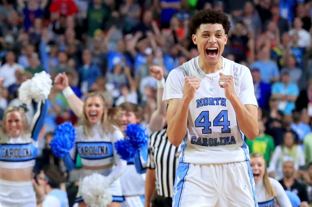Justin Jackson of the North Carolina Tar Heels reacts after defeating the Oregon Ducks during the 2017 NCAA Men's Final Four semifinal at University of Phoenix Stadium on April 1, 2017 in Glendale, Ariz. (Ronald Martinez/Getty Images)