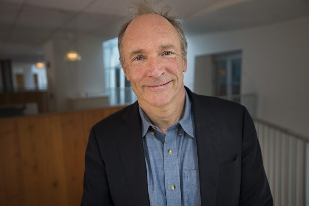 "MIT researcher Tim Berners-Lee invented the World Wide Web. He says it was meant to connect people and even though the web is now filled with ""misogynistic bullies"" and ""nasty people"" he's still optimistic about its potential. (Jesse Costa/WBUR)"