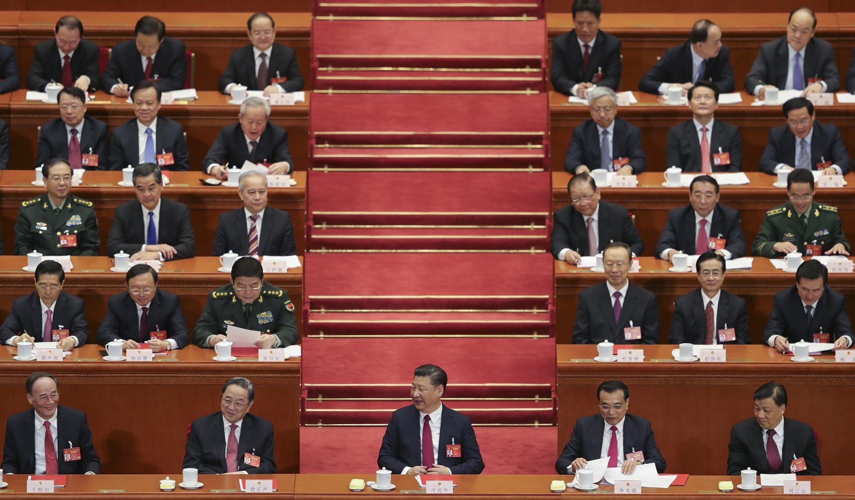 Chinese President Xi Jinping (center) at the closing meeting of the Fifth Session of the 12th National People's Congress (NPC) at the Great Hall of the People on March 15, 2017 in Beijing, China. (Lintao Zhang/Getty Images)