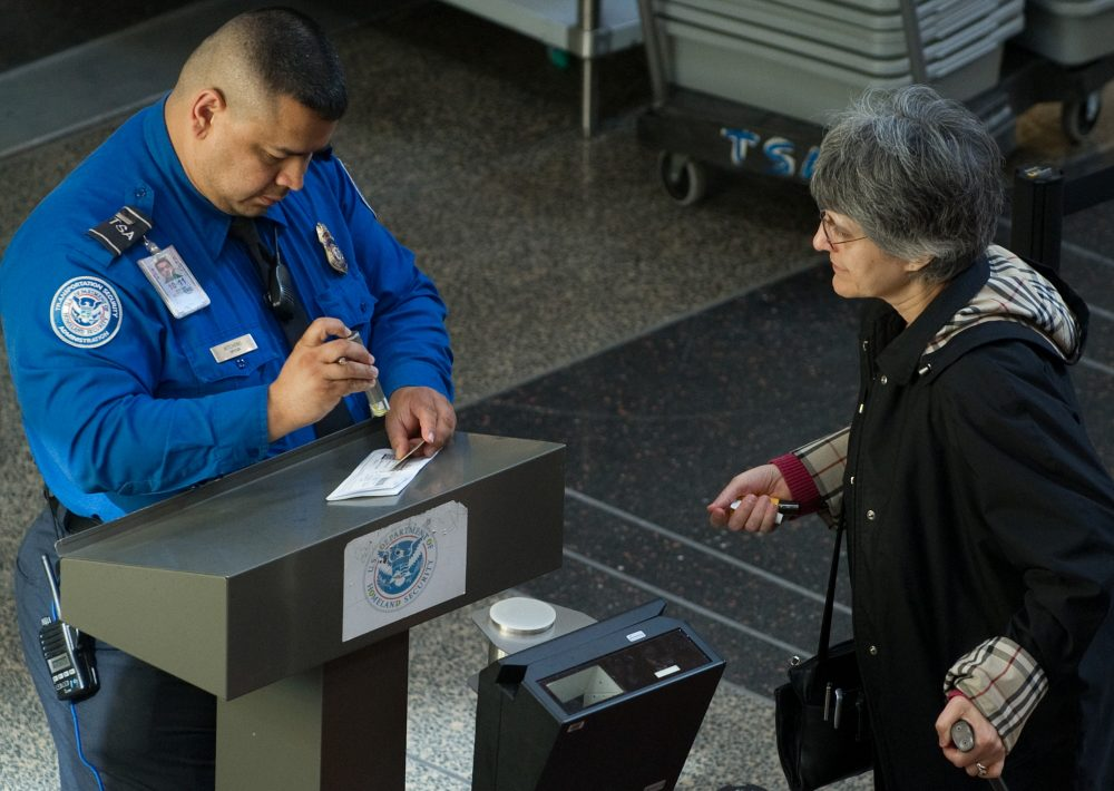 A U.S. Transportation Security Administration (TSA) agent checks the identification and boarding pass of a passenger as she passes through security in the terminal at Ronald Reagan Washington National Airport in Arlington, Va., Nov. 6, 2010. (Saul Loeb/AFP/Getty Images)