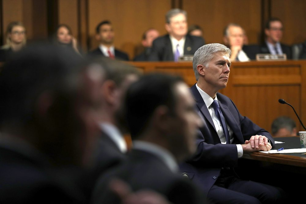 Judge Neil Gorsuch looks on during the first day of his Supreme Court confirmation hearing before the Senate Judiciary Committee in the Hart Senate Office Building on Capitol Hill March 20, 2017 in Washington. (Justin Sullivan/Getty Images)