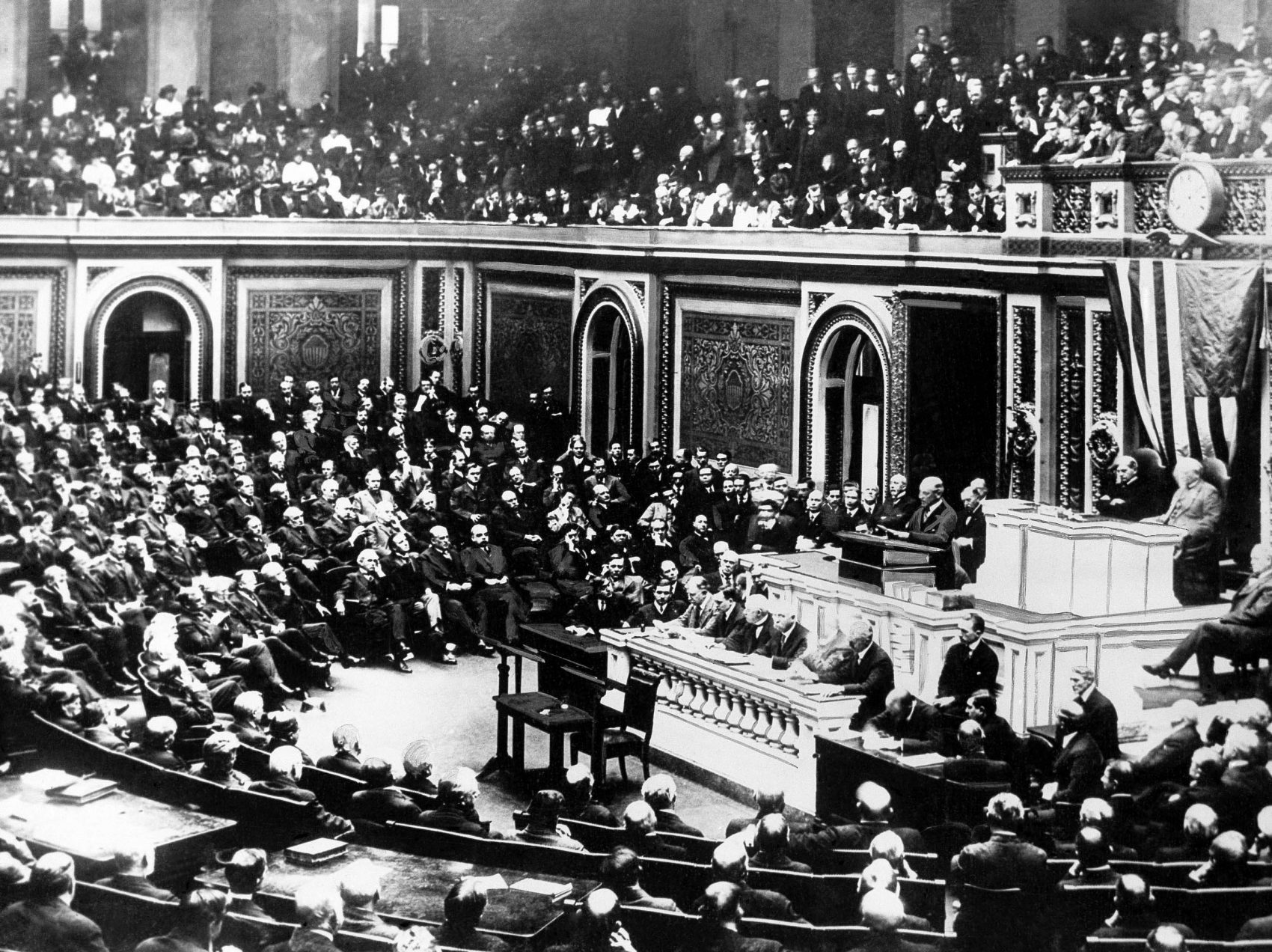 In this April 2, 1917 file photo, President Woodrow Wilson delivers a speech to the joint session of Congress, in Washington, United States, during World War I. (AP)