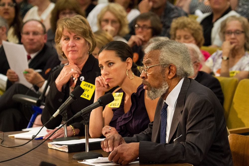State Sen. Sonia Chang-Diaz, center, is pictured in this 2015 file photo. (Jesse Costa/WBUR)