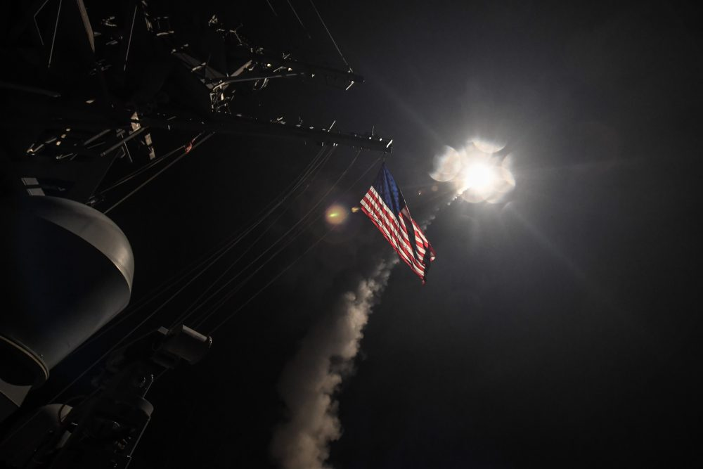 In this handout provided by the U.S. Navy, the guided-missile destroyer USS Porter fires a Tomahawk land attack missile on April 7, 2017 in the Mediterranean Sea. (Ford Williams/U.S. Navy via Getty Images)