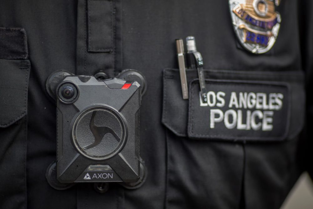 A Los Angeles police officer wear an Axon body camera during the Immigrants Make America Great March to protest actions being taken by the Trump administration on February 18, 2017 in Los Angeles, Calif. (David McNew/Getty Images)
