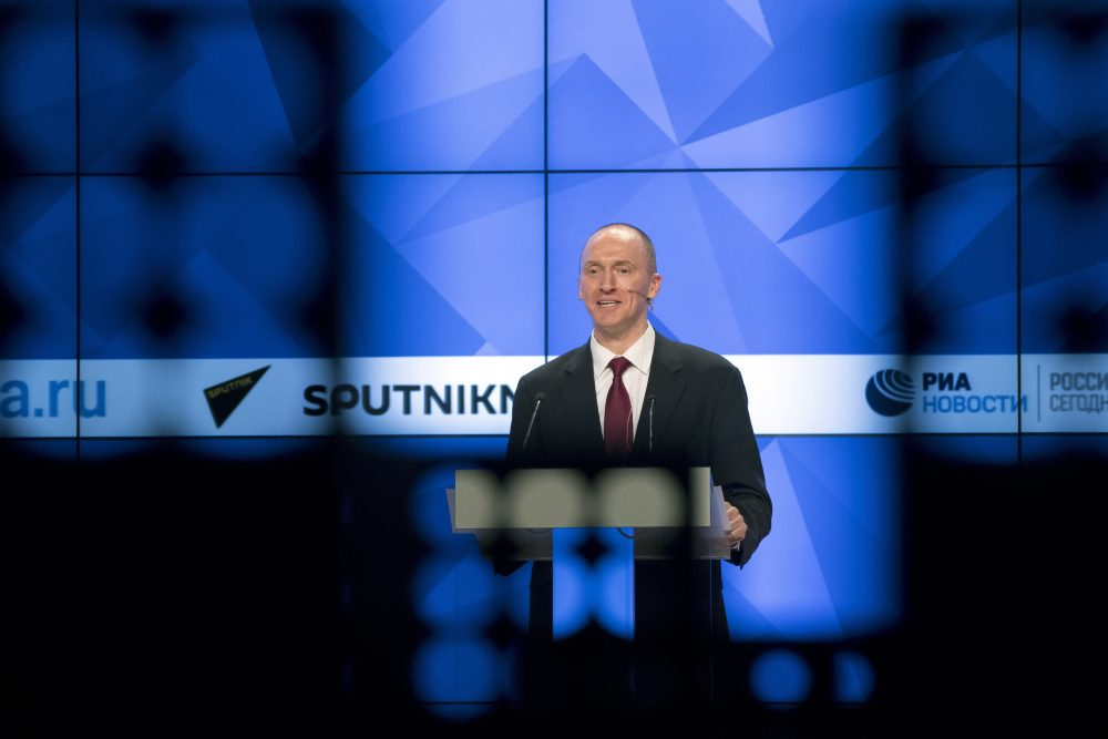 Carter Page, a formerforeign policy adviser of U.S. President-elect Donald Trump, speaks ata news conferenceat RIA Novosti news agency in Moscow, Russia, Monday, Dec. 12, 2016. (Pavel Golovkin/AP Photo)