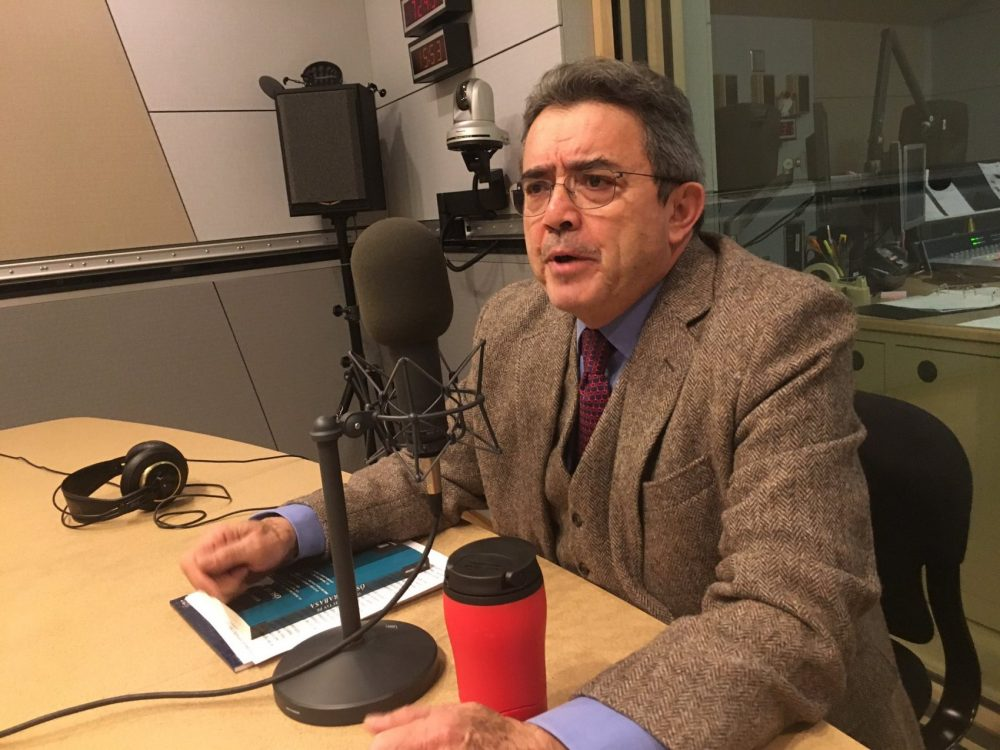 Emilio Rabasa, Mexico's consul general of New England in Boston, spoke with us in our studios in January. (Yasmin Amer/WBUR)