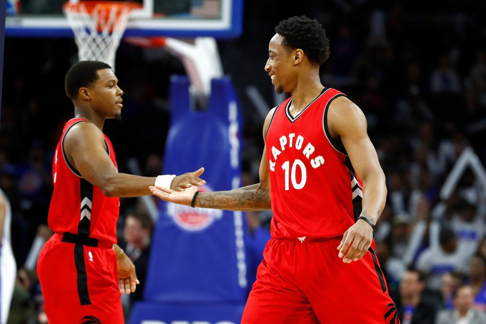 Kyle Lowry (left) and DeMar DeRozan (right) received one of our awards. (Gregory Shamus/Getty Images)