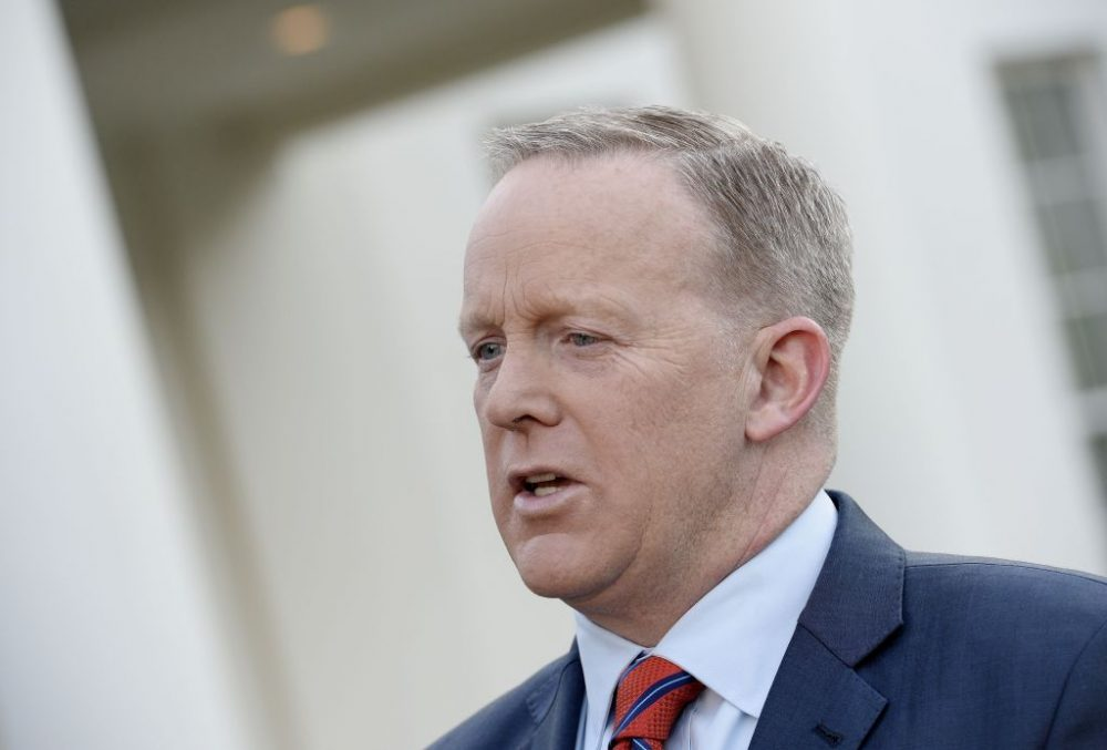 White House press secretary Sean Spicer apologizes for comments he made suggesting that President Bashar al-Assad of Syria was worse than Hitler, during a TV interview at the White House April 11, 2017. Spicer also said incorrectly that Hitler had not used chemical weapons durng World War II.  (Olivier Douliery-Pool/Getty Images)