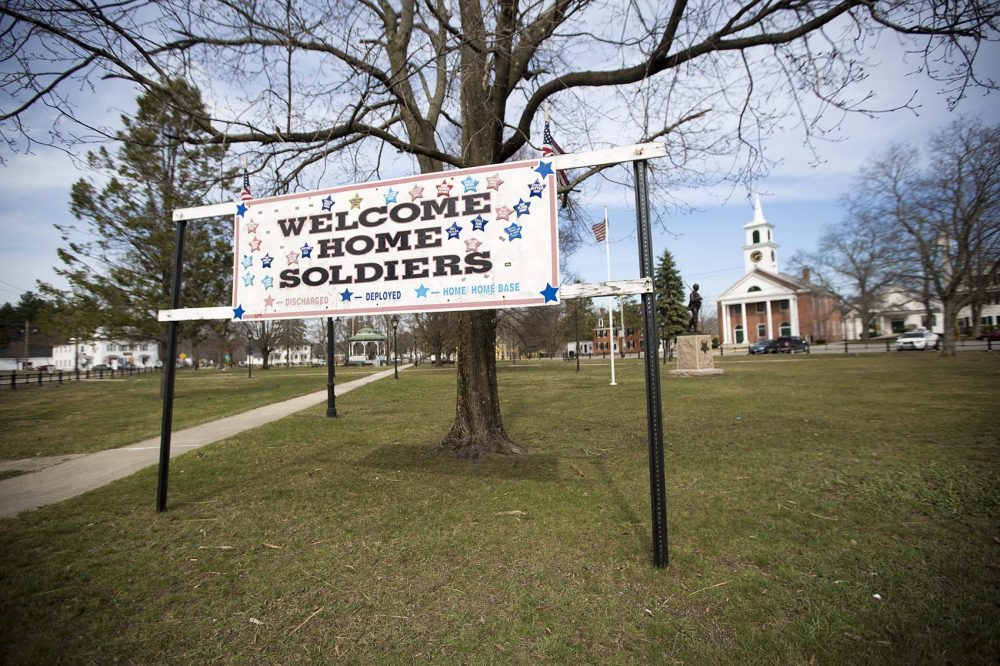 A banner welcoming local soldiers home from military service is displayed on the Townsend green. In Townsend, voters chose Trump over Hillary Clinton 50 to 41 percent. It's one of about 50 towns in the central part of the state that went for Trump. And they are the focus of the WBUR poll. (Jesse Costa/WBUR)