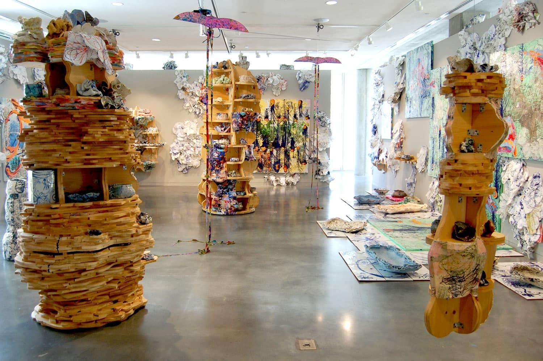 "Mark Cooper's exhibition ""Uncertainty"" at Lesley University. (Greg Cook/WBUR)"