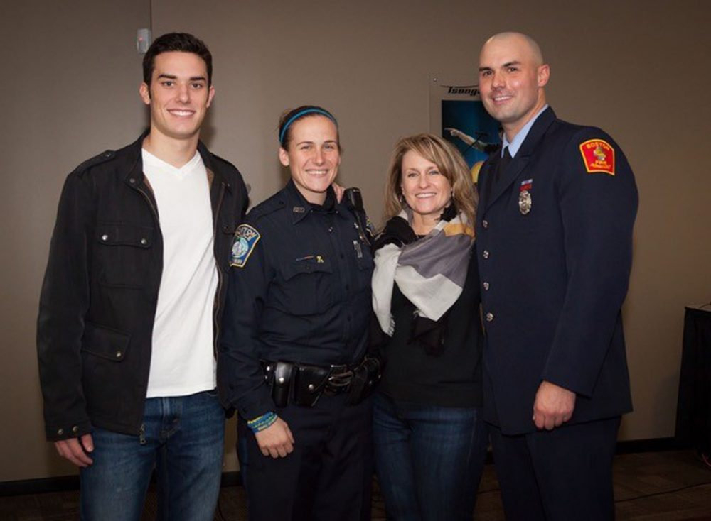 Shores Salter, Shana Cottone, Roseann Sdoia and Mike Materia at UMass Lowell hockey game 2014. (Courtesy Sdoia)