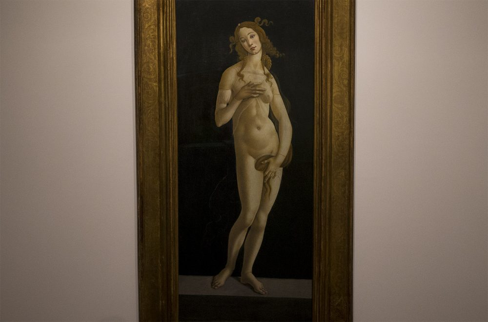 "A major traveling exhibition, now at the MFA in Boston, tells the story of Renaissance artist Sandro Botticelli. ""Venus,"" pictured here, is the centerpiece of the show. (Jesse Costa/WBUR)"