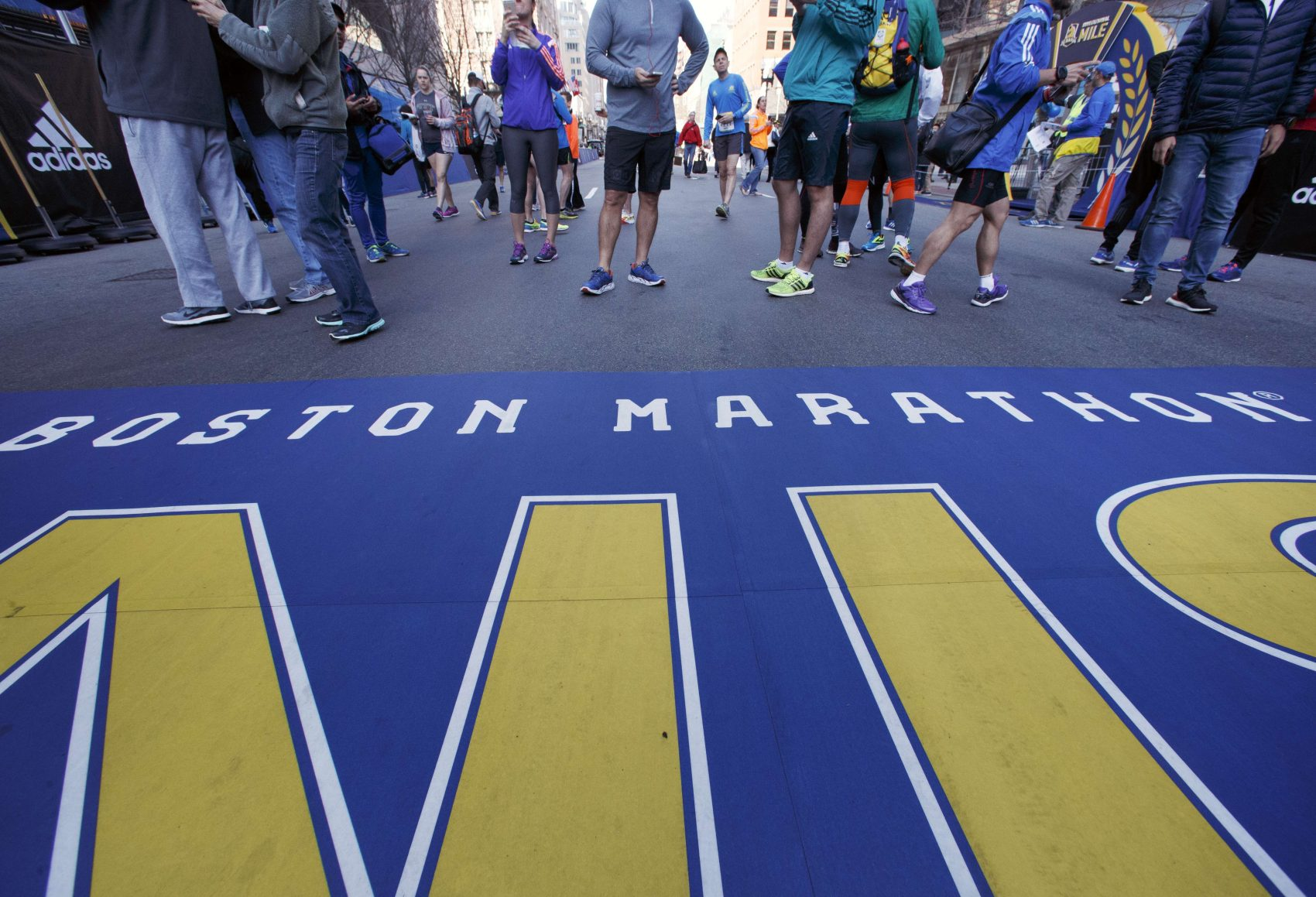 People gather at the Boston Marathon finish line on Saturday. (Michael Dwyer/AP)