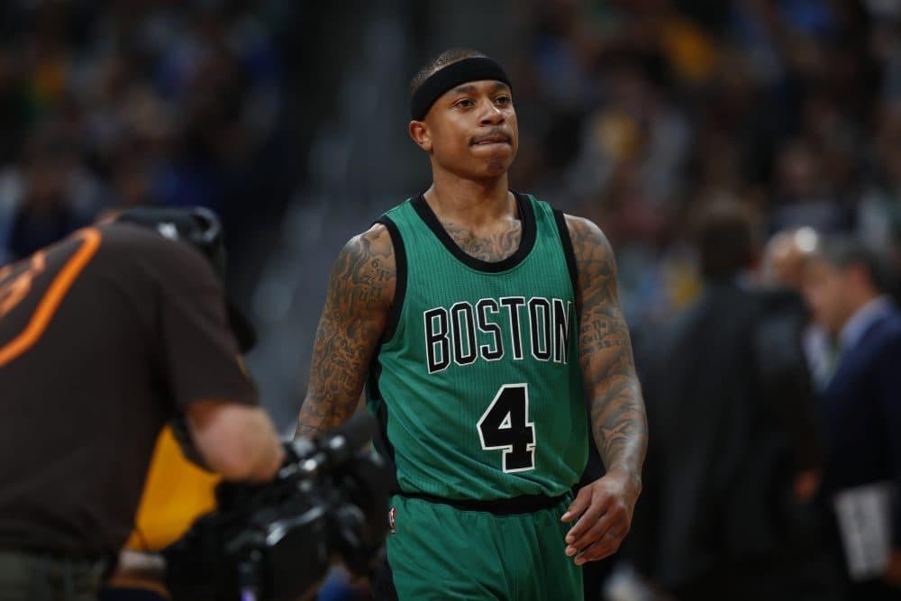 Boston Celtics guard Isaiah Thomas in the second half of a game versus the Denver Nuggets. (David Zalubowski/AP)