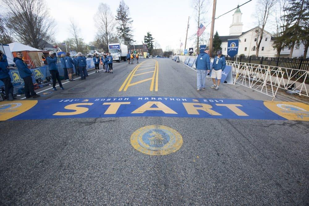 The starting line of the Boston Marathon in Hopkinton. (Joe Difazio for WBUR)