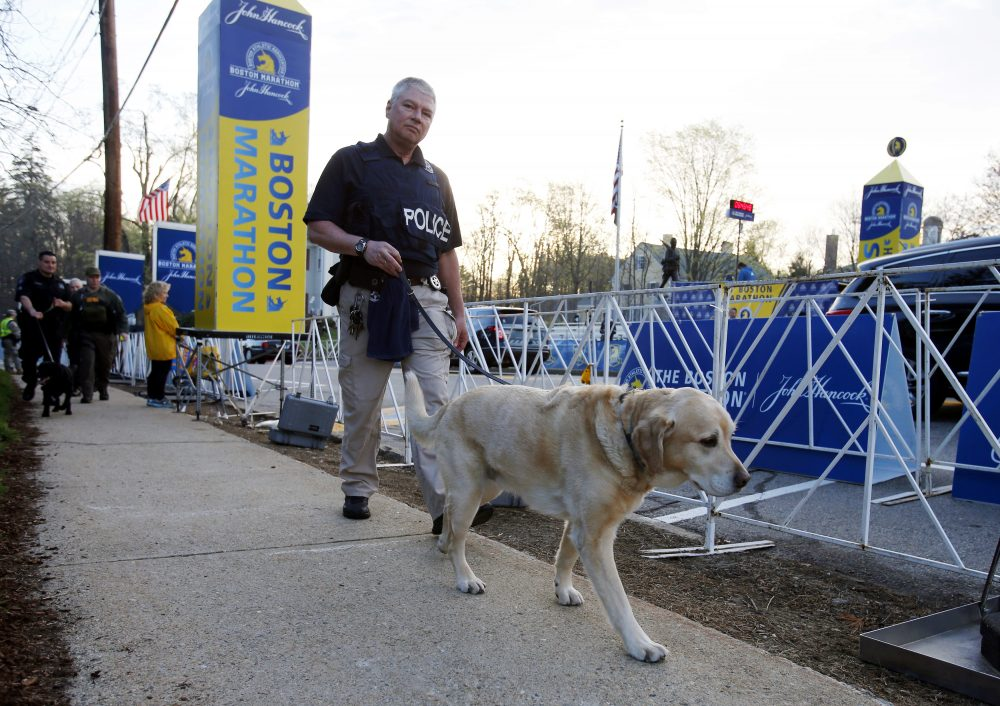 A police officer and a working dog perform a security sweep at the starting line of the Boston Marathon in Hopkinton, Mass. (Mary Schwalm/AP)