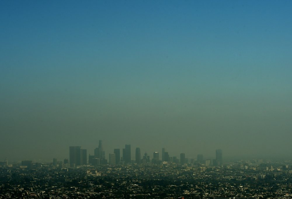 A view of the Los Angeles city skyline as heavy smog shrouds the city in California on May 31, 2015. (Mark Ralston/AFP/Getty Images)