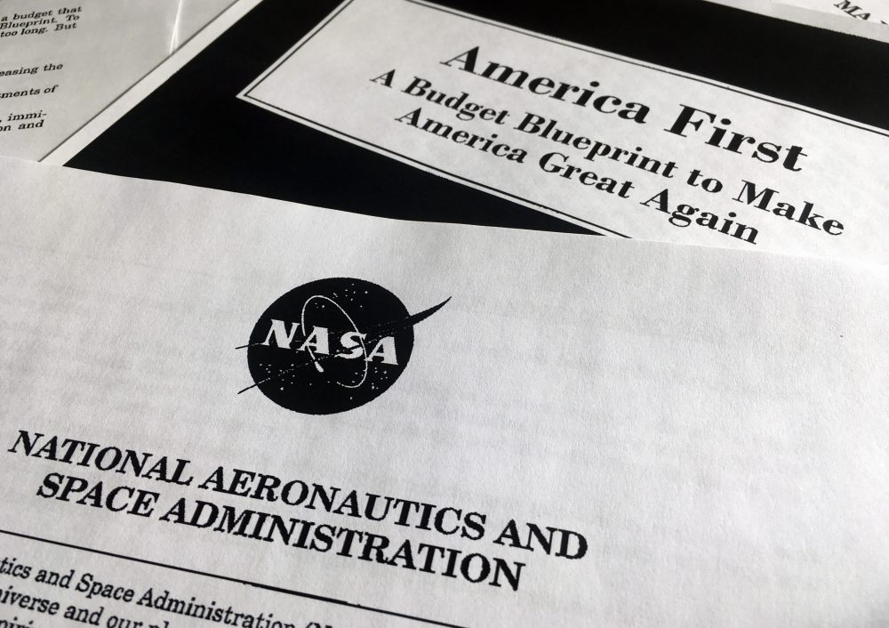 A portion of President Trump's first proposed budget, focusing on the NASA, and released by the Office of Management and Budget, is photographed in Washington, Wednesday, March 15, 2017. (Jon Elswick/AP)
