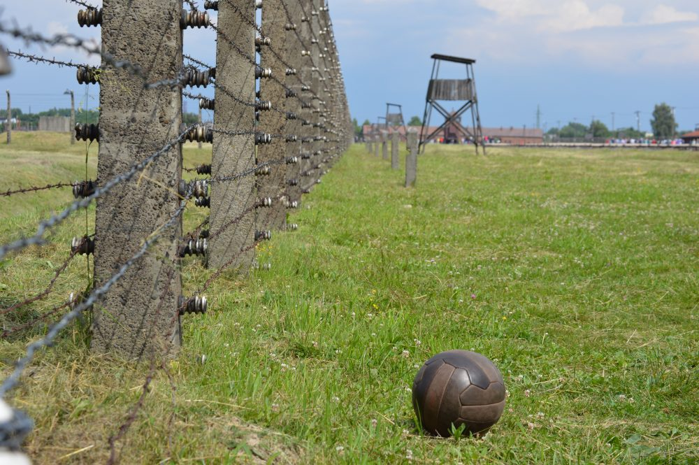 "Kevin Simpson chronicles the history of soccer, survival and resistance during the Holocaust in his book ""Soccer Under the Swastika."" Above is a photo he took at the Auschwitz concentration camp. (Courtesy of Kevin Simpson)"