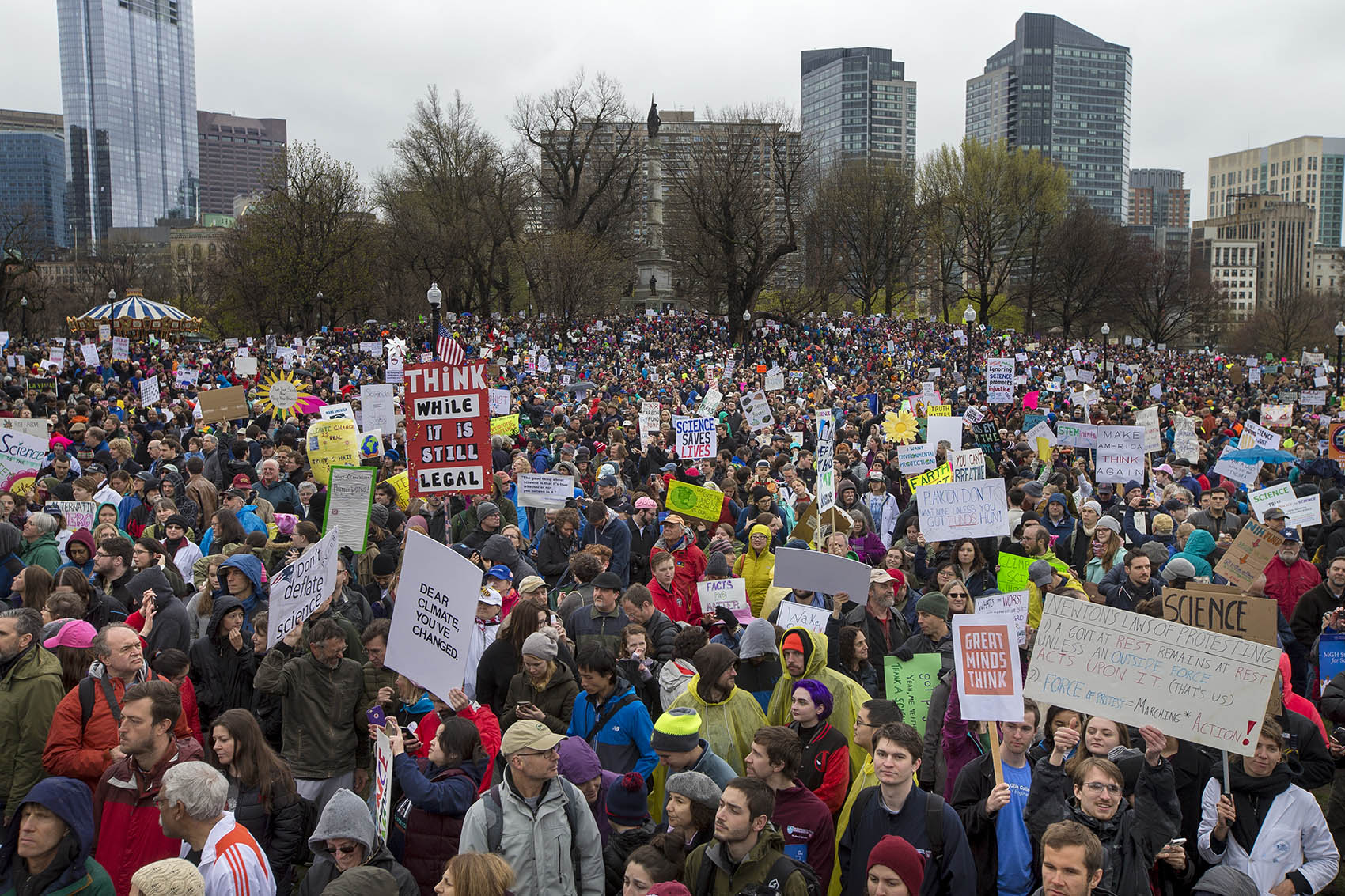 The crowd gathered on Boston Common Saturday for the March For Science. (Jesse Costa/WBUR)
