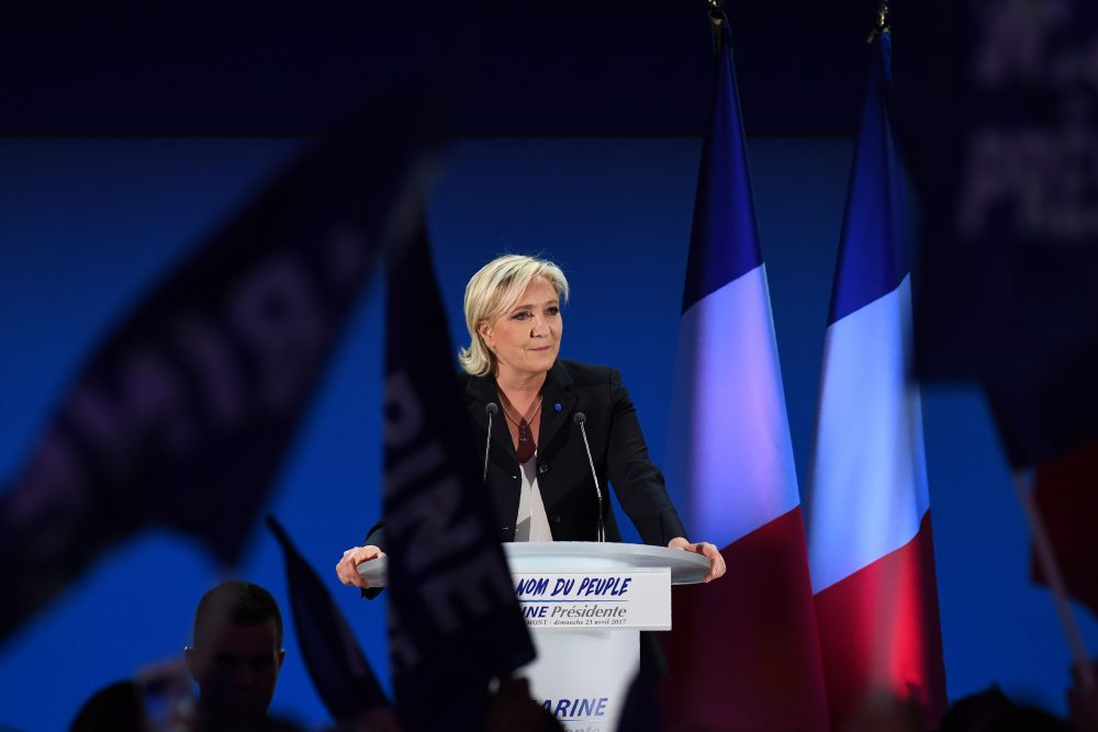 French presidential election candidate for the far-right Front National party Marine Le Pen delivers a speech in Henin-Beaumont, on April 23, 2017, after the first round of the Presidential election. (Alain Jocard/AFP/Getty Images)