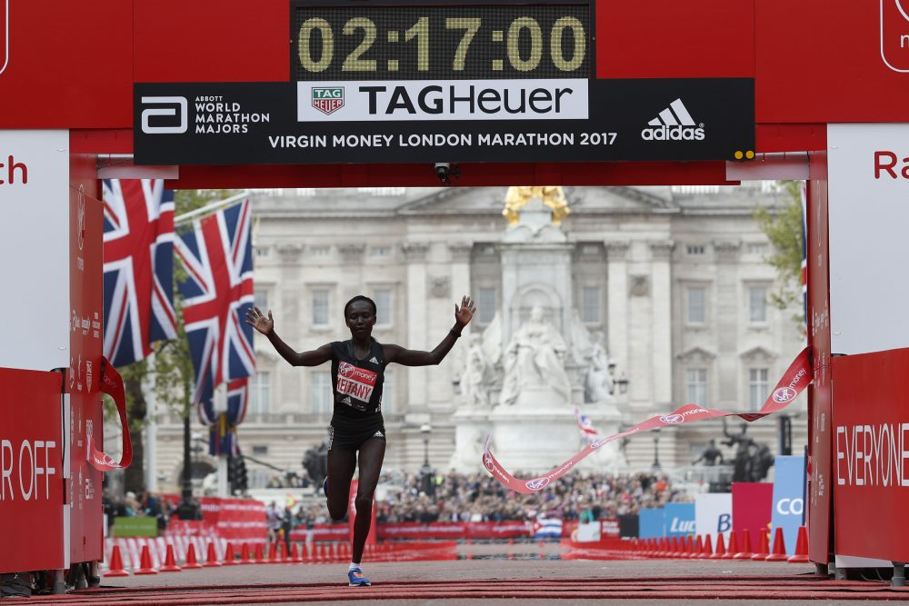 Kenya's Mary Keitany wins the women's elite race at the London marathon on April 23, 2017 in London, posting a time of 2:17:01 -- the fastest time in a women-only marathon. (Adrian Dennis/AFP/Getty Images)