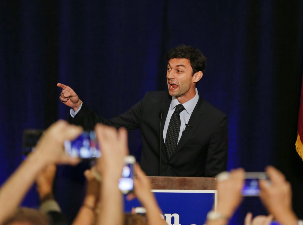 Democratic candidate for Georgia's 6th District Congressional seat Jon Ossoff speaks to supporters during an election-night watch party Tuesday, April 18, 2017, in Dunwoody, Ga. (John Bazemore/AP)