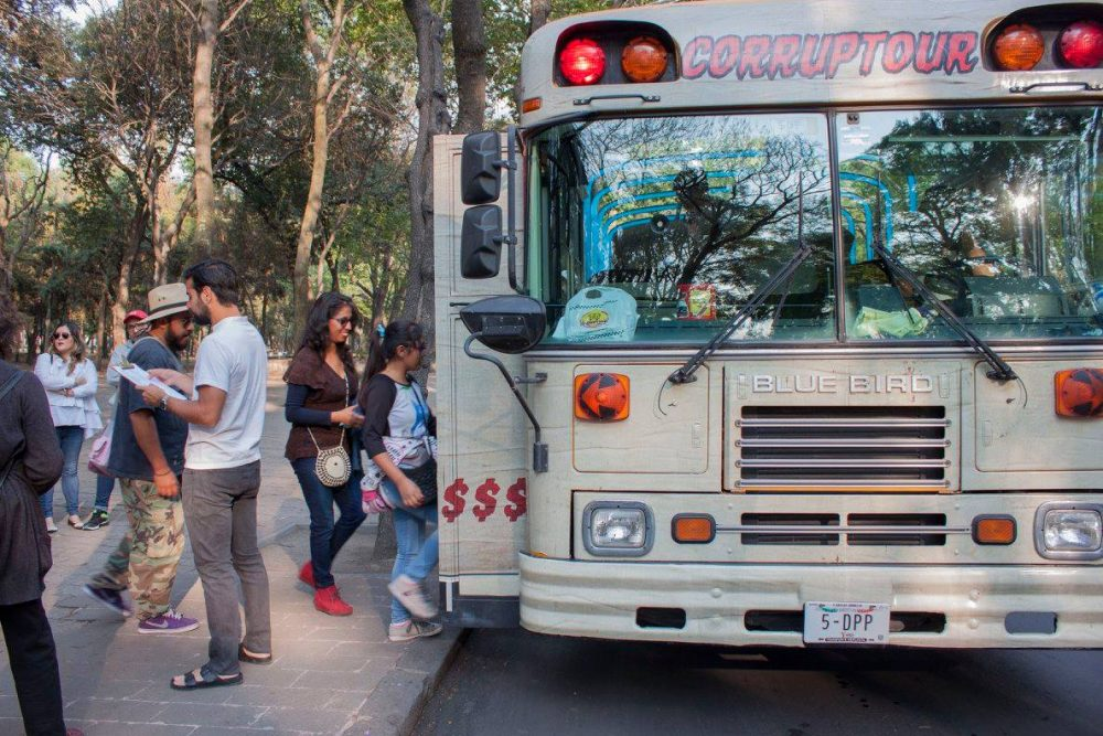 """The """"Corruptour"""" is a weekly bus tour that shows off what organizers say are Mexico City's monuments to graft, fraud and impunity (Corruptour)"""