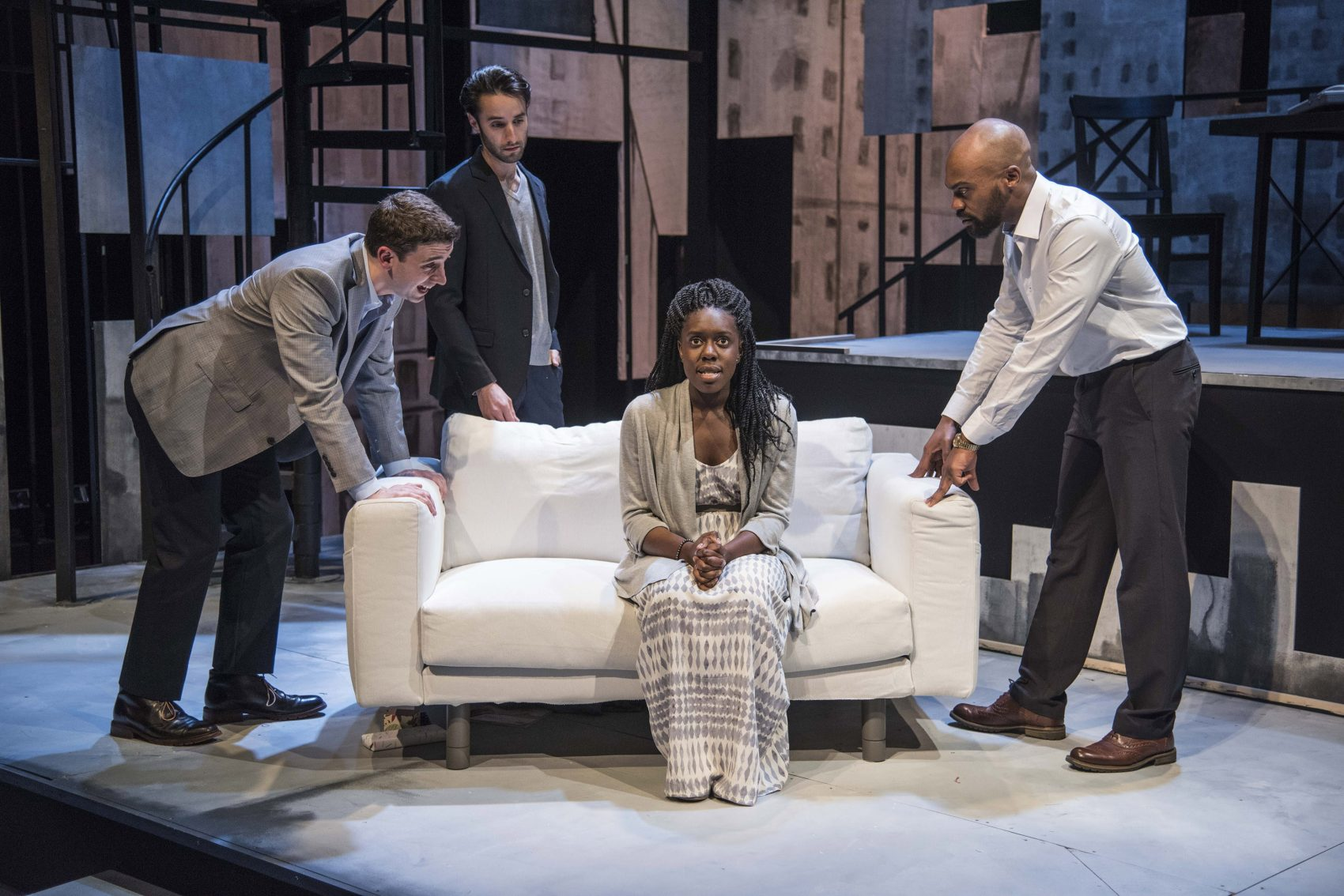"From left to right: Alejandro Simoes, Zachary Rice, Obehi Janice and Maurice Emmanuel Parent in ""The Gift Horse."" (Courtesy Andrew Brilliant)"