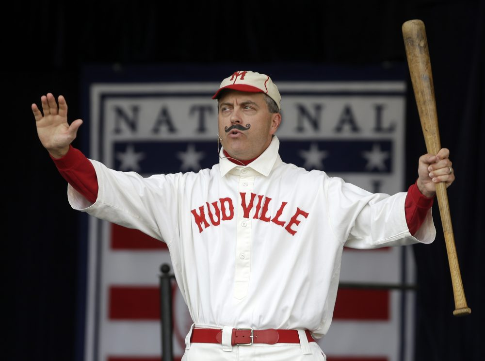 "Tim Wiles, Baseball Hall of Fame director of research, portrays ""The Mighty Casey."" (Mike Groll/AP)"