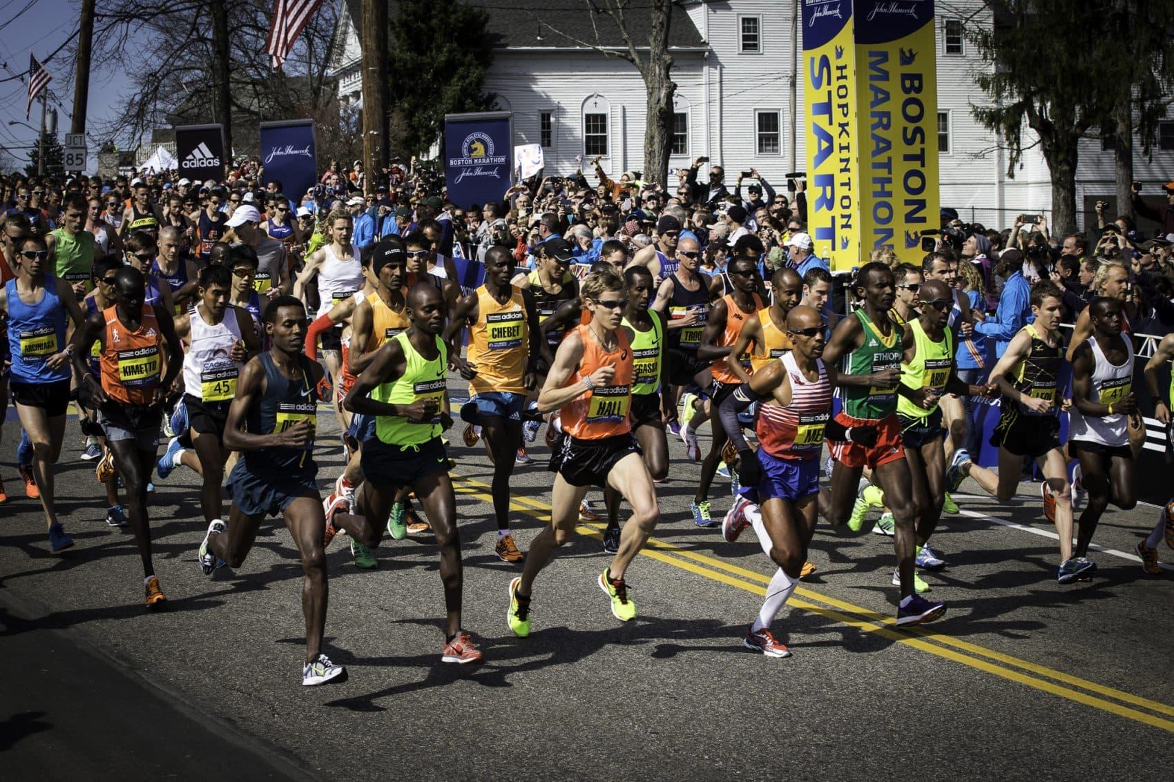 The men's start of the 2014 Boston Marathon on April 21, 2014 in Hopkinton. (Courtesy Michael J. Lutch)
