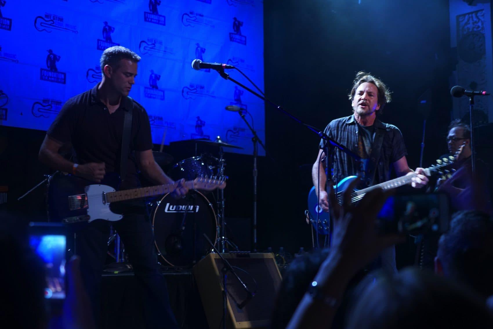 Eddie Vedder and Theo Epstein during HSCM Chicago in 2016. (Courtesy Steve Saleeba)