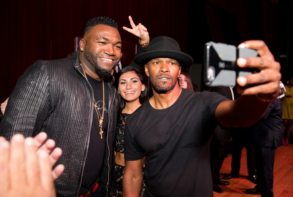 David Ortiz of the Boston Red Sox, Marina Varano and Jamie Foxx attend the STRIP by Strega Opening Party at the newly renovated Boston Park Plaza Hotel on Friday, April 17, 2015 in Boston. (Photo by Marc Andrew Deley/Invision/AP Images)