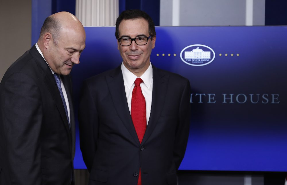 Treasury Secretary Steven Mnuchin, right, and National Economic Director Gary Cohn, arrive in the briefing room of the White House in Washington, Wednesday, April 26, 2017. (Carolyn Kaster/AP Photo)