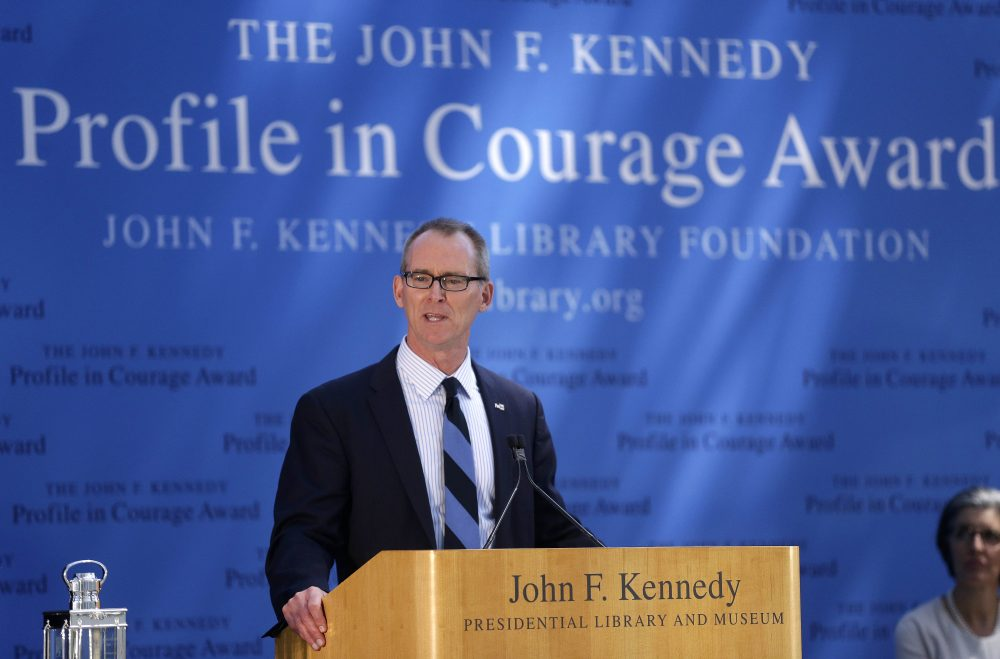 Former U.S. Rep. Bob Inglis, R-S.C., addresses an audience during ceremonies for the 2015 Profile in Courage Award, at the John F. Kennedy Library and Museum, Sunday, May 3, 2015, in Boston. Inglis was awarded the prize for reversing his position on climate change. (AP Photo/Steven Senne)