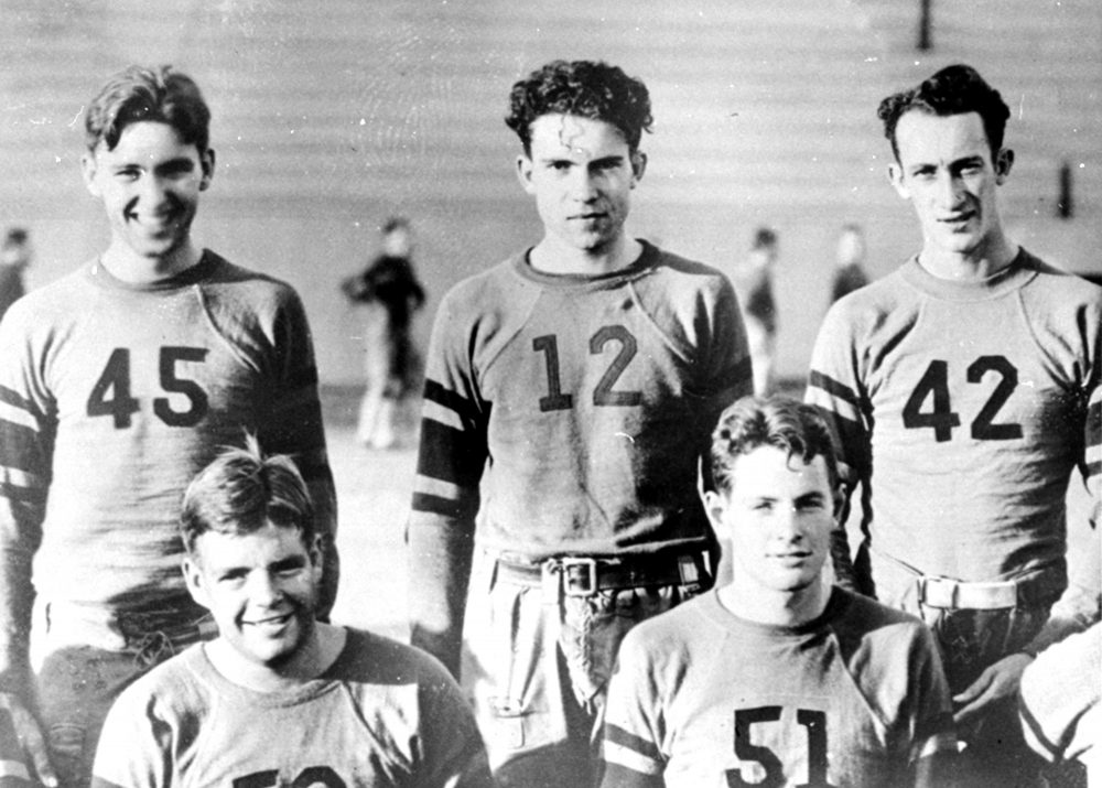 "Richard Nixon is shown in an undated photo at Whittier College, center, standing, as a member of the second string football team. He was not a letter winner. He was known as ""the most spirited bench warmer on the team.""  (AP)"