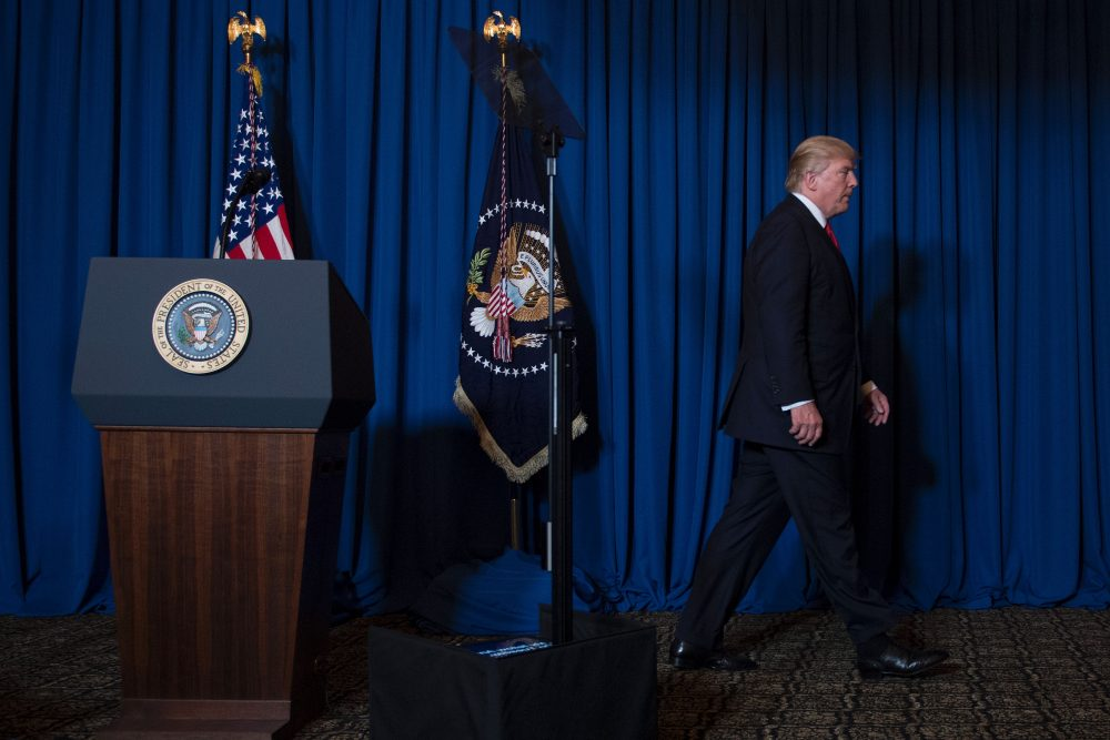 President Donald Trump departs after delivering a statement on Syria in Florida on April 6, 2017. (Jim Watson/AFP/Getty Images)