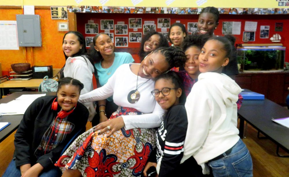 Lovely Hoffman with her students at Helen Y. Davis Leadership Academy. (Courtesy of Brandon German)