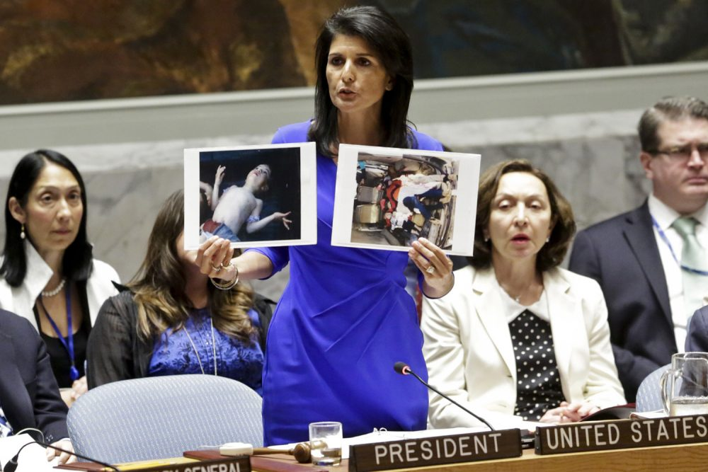 Nikki Haley, United States' Ambassador United Nations, shows pictures of Syrian victims of chemical attacks as she addresses a meeting of the Security Council on Syria at U.N. headquarters. (Bebeto Matthews/AP)