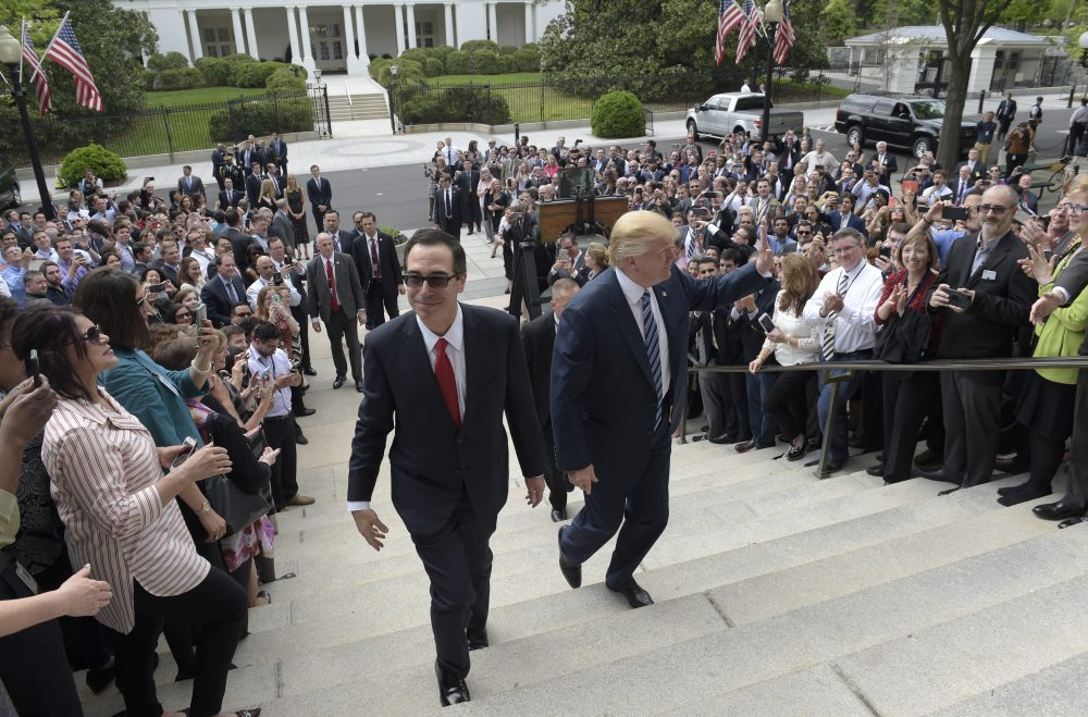 So-called shadow banks have almost tripled their percentage share of home loans since 2007, writes Rich Barlow. Why is this worrisome? It was a shadow bank that was the first domino to fall in the 2008 financial crisis. Pictured: President Trump and Treasury Secretary Steven Mnuchin arrive at the Treasury Department, Friday, April 21, 2017. There, the president signed an executive order to review tax regulations, as well as two memos to review the Dodd-Frank Act. (Susan Walsh/AP)