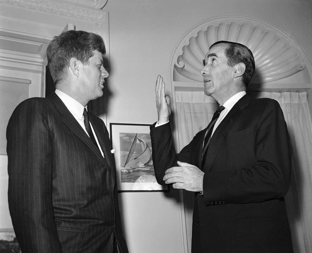 Can the rebirth of an information agency rein in the off-script and ill-informed foreign policy statements of the administration? asks Lauren Brodsky. Pictured: Edward R. Murrow chats with President John Kennedy on March 21, 1961 at the White House after he was sworn in as new director of the United States Information Service. (Harvey Georges/AP)