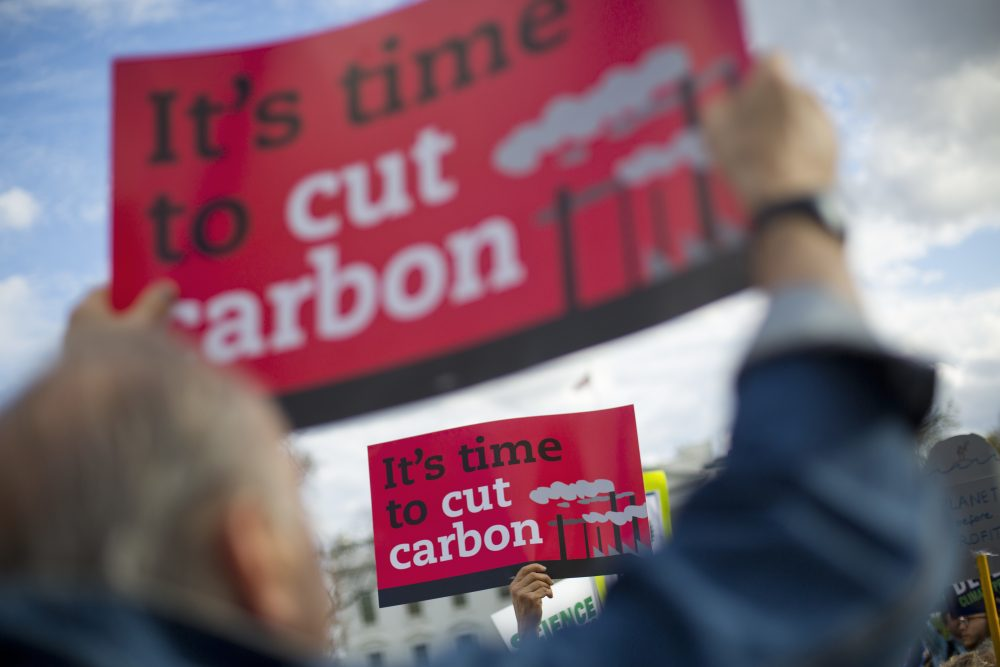 I'm marching to counter the normalization of denial, writes Frederick Hewett. I'm marching because climate change is here today. Pictured: Demonstrators gather in front of the White House, Tuesday, March 28, 2017, during a rally against President Donald Trump's Energy Independence Executive order. (Pablo Martinez Monsivais/AP)
