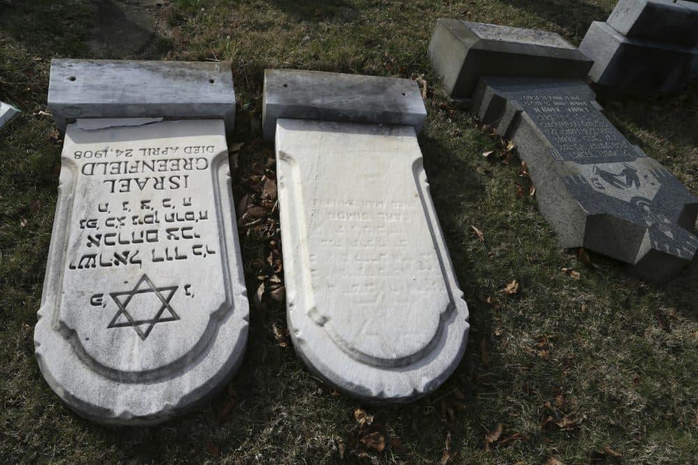 Damaged headstones are seen at Mount Carmel cemetery on Feb. 27, 2017, in Philadelphia. (Jacqueline Larma/AP)