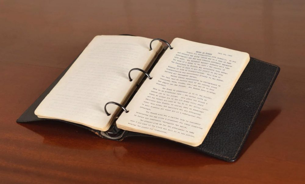 The diary was written in 1945 when the 28-year-old Kennedy was a correspondent for Hearst newspapers and traveled through a devastated Europe. (RR Auction)
