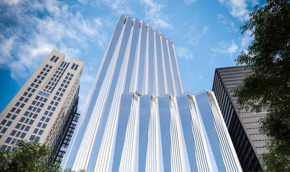 A rendering of the proposed Winthrop Square tower (Courtesy Handel Architects, via Millennium Partners)