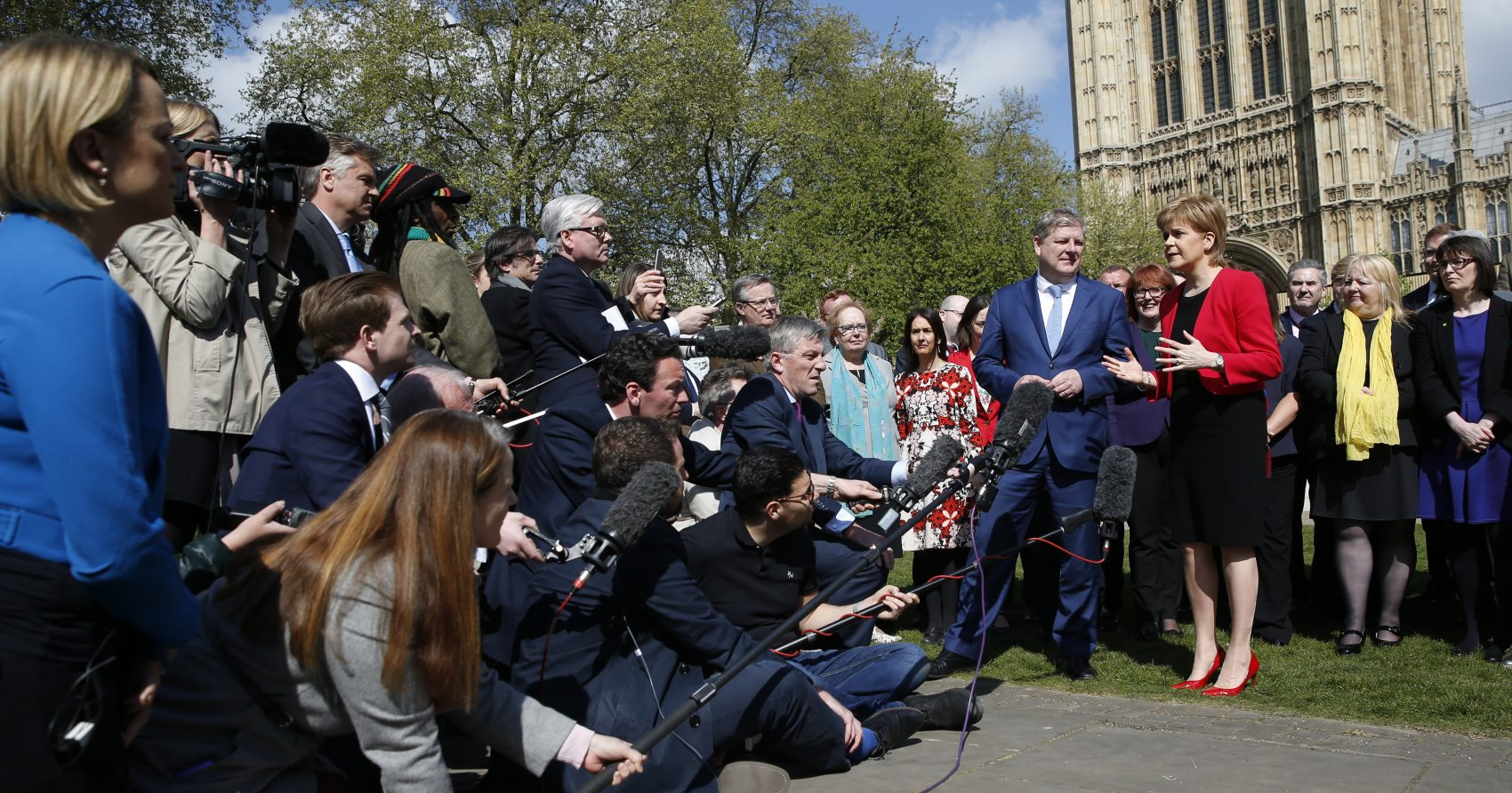 With headstrong leaders on both sides and a long history of conflict, Brexit negotiations promise to be compelling viewing, writes Peter Moloney. Pictured: Scotland's First Minister Nicola Sturgeon, with lawmaker Angus Robertson an SNP member of the UK Parliament, speak to the media outside the Palace of Westminster in London, Wednesday, April 19, 2017. (Alastair Grant/AP)